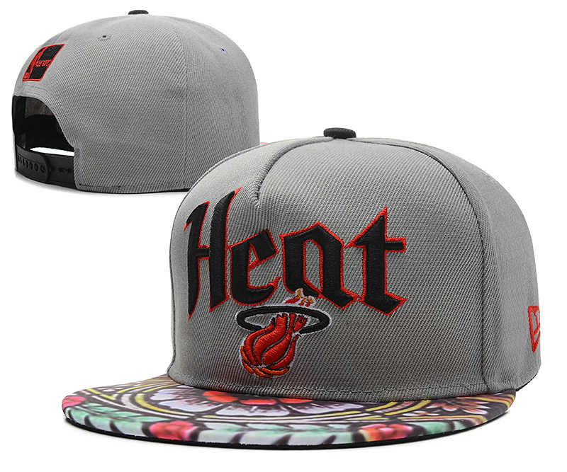 Miami Heat Grey Snapback Hat DF 0613